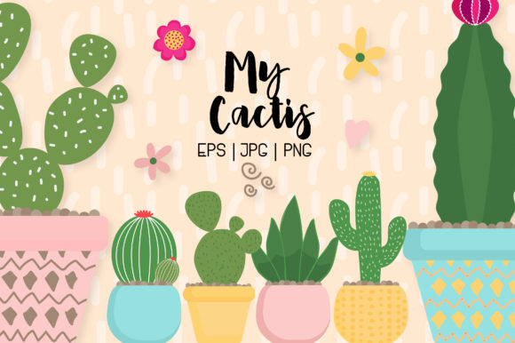 Print on Demand: Cute Cactus Vector Set Graphic Illustrations By loyaarts