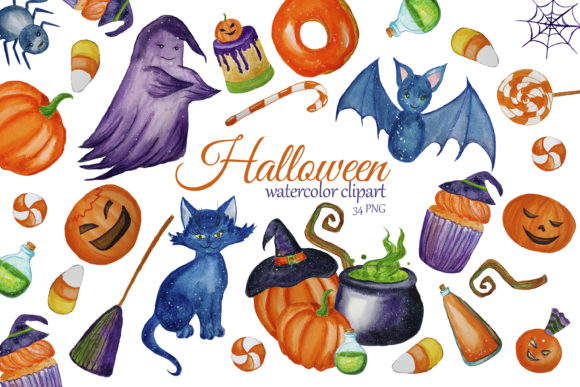Print on Demand: Cute Halloween Clipart. Witch Clip Art Graphic Illustrations By s.yanyeva
