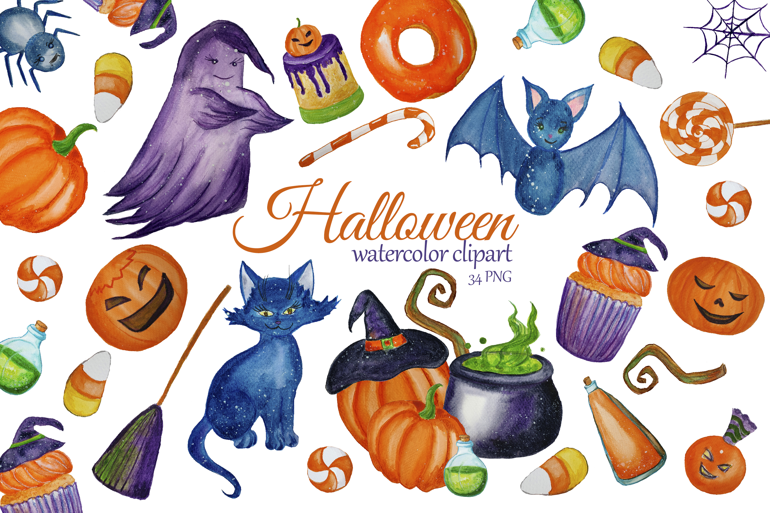 Cute Halloween Clipart Witch Clip Art Graphic By S Yanyeva Creative Fabrica