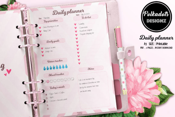Daily Planner Printable - Pink Heart Graphic Print Templates By Polkadots Designz