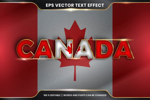 Editable Text Effect Canada with Flag Graphic Add-ons By rahmaalkhansa