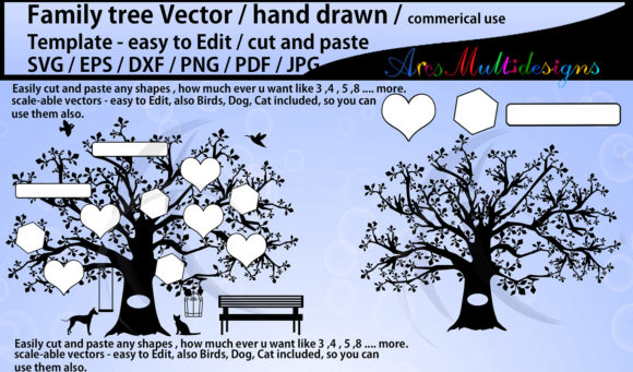 Print on Demand: Family Tree Template Graphic Illustrations By Arcs Multidesigns