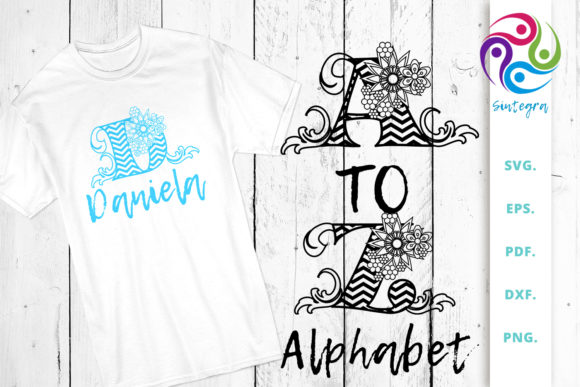 Print on Demand: Floral Chevron Alphabet, Letter a to Z Graphic Crafts By Sintegra