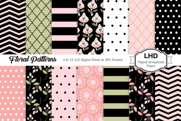 Floral Pink and Black Patterns Graphic Patterns By LeskaHamatyDesign
