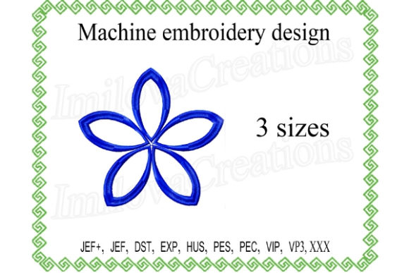 Flower Border Outline Flowers Embroidery Design By ImilovaCreations