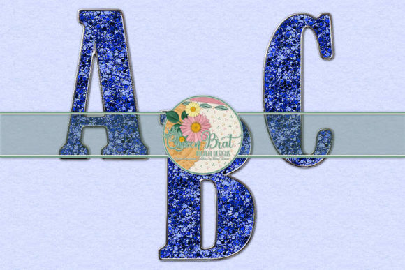 Print on Demand: Freedom Alphabet Blue Glitter Graphic Illustrations By QueenBrat Digital Designs