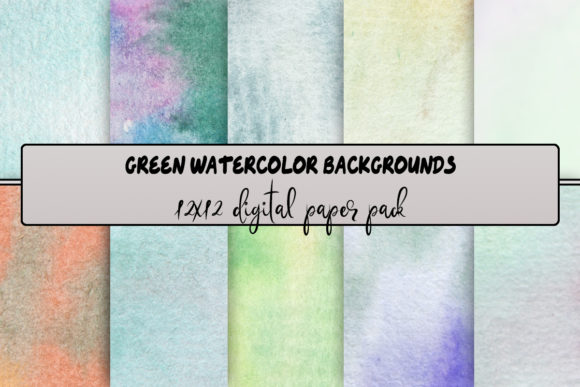 Print on Demand: Green Watercolor Backgrounds Graphic Backgrounds By A Design in Time