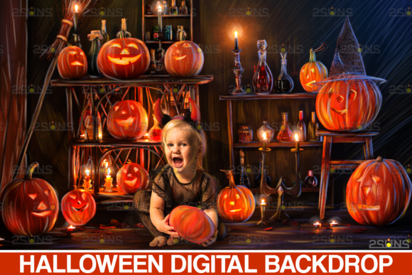 Halloween Backdrop: Halloween Digital Graphic Actions & Presets By 2SUNS