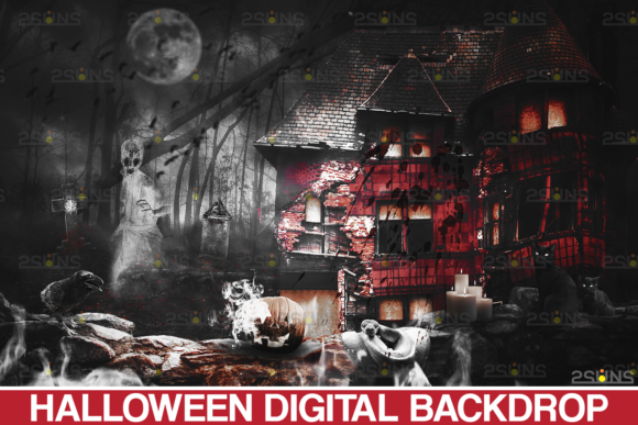 Halloween Backdrop & Scary Photoshop Graphic Actions & Presets By 2SUNS