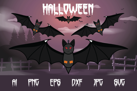 Halloween Bats Graphic Crafts By custodestudio