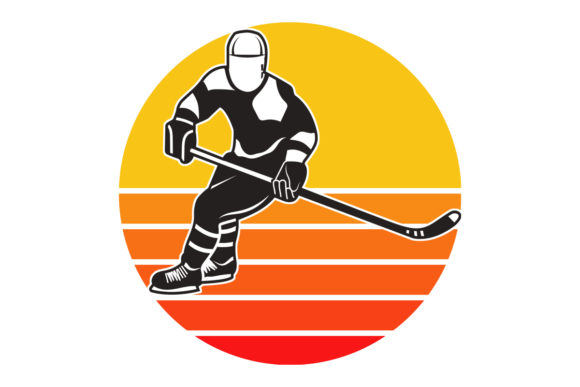 Print on Demand: Hockey Player Retro Vintage Sunset  Graphic Logos By SunandMoon