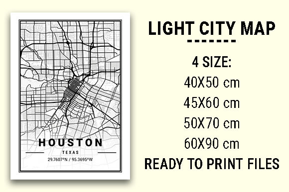 Print on Demand: Houston Light City Map Graphic Photos By tienstencil