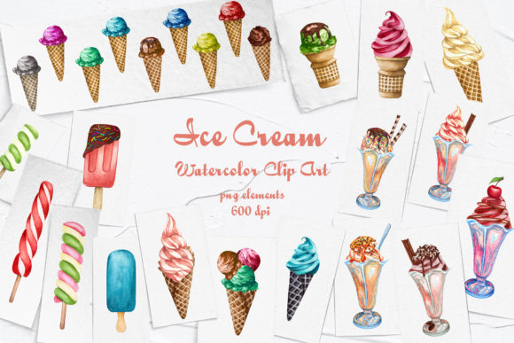 Ice Cream Watercolor Clip Art Graphic Illustrations By BarvArt