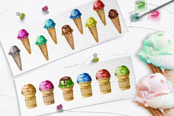 Ice Cream Watercolor Clip Art Graphic Illustrations By BarvArt - Image 4