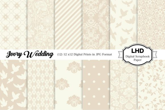 Ivory Wedding Digital Paper Pack Graphic Patterns By LeskaHamatyDesign