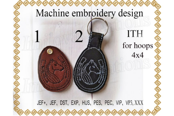 Key Fob Horseshoe Sewing & Crafts Embroidery Design By ImilovaCreations
