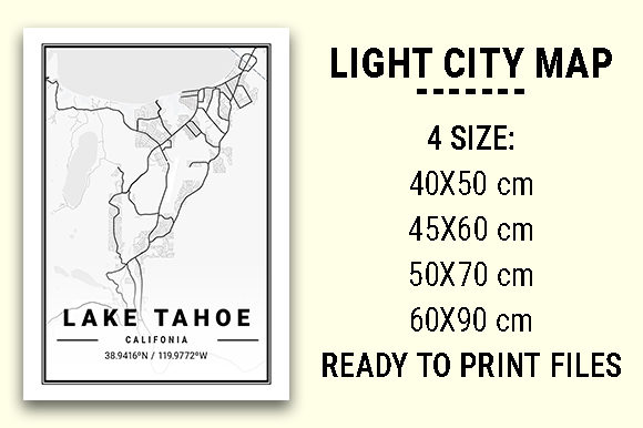 Print on Demand: Lake Tahoe Light City Map Graphic Photos By tienstencil