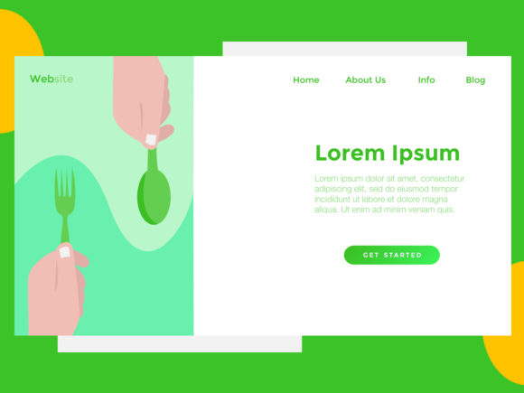 Print on Demand: Landing Page Food Spoon Green Graphic Landing Page Templates By archshape