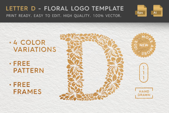 Letter D - Floral Logo Template Graphic Illustrations By Textures