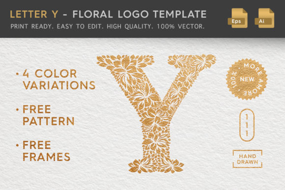 Letter Y - Floral Logo Template Graphic Illustrations By Textures