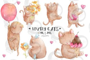 Lovely Cats | Watercolor Illustrations Graphic Illustrations By Jen Digital Art