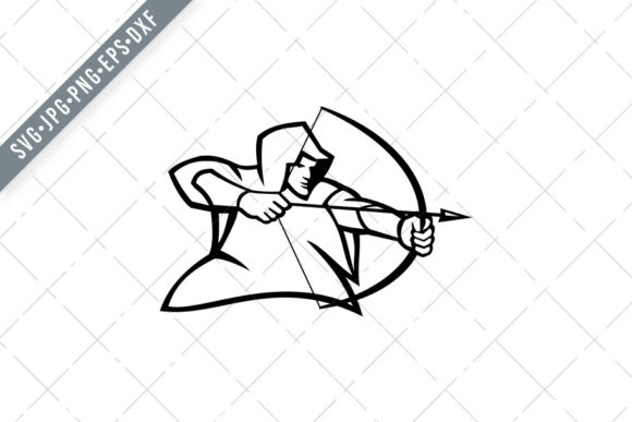 Print on Demand: Medieval Archer Shooting Bow Arrow Graphic Illustrations By patrimonio