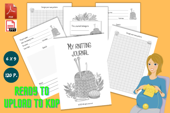 Print on Demand: My Knitting Journal - KDP Interior Graphic KDP Interiors By anatarouca - Image 1