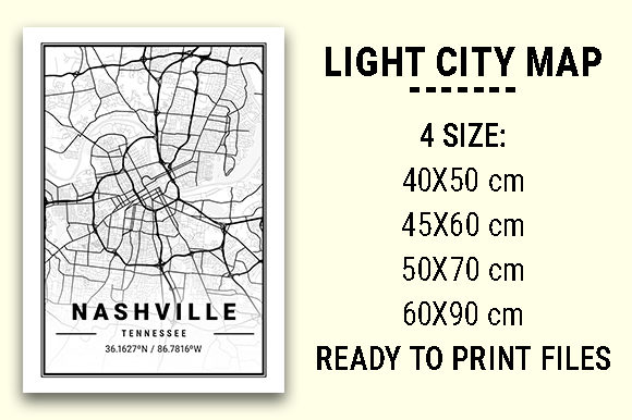 Print on Demand: Nashville Light City Map Graphic Photos By tienstencil