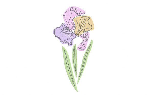 Print on Demand: Pastel Iris Flower Single Flowers & Plants Embroidery Design By EmbArt