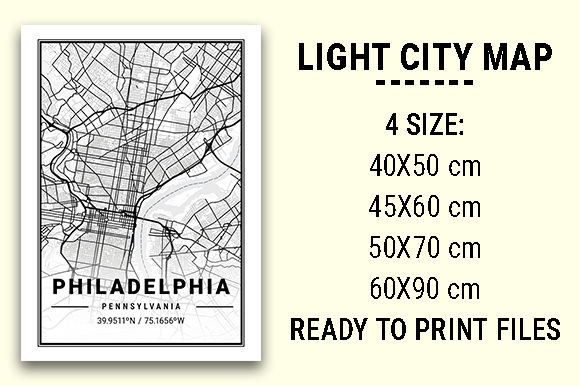 Print on Demand: Philadelphia Light City Map Graphic Photos By tienstencil