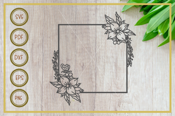 Polygon Frame with Flower Monogram Graphic Crafts By RIZUKI Store