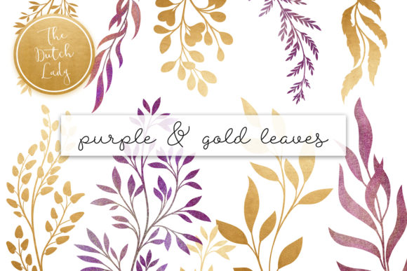 Print on Demand: Purple & Golden Leaf Clipart Set Graphic Illustrations By daphnepopuliers