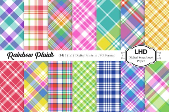 Rainbow Plaid Patterns Graphic Patterns By LeskaHamatyDesign