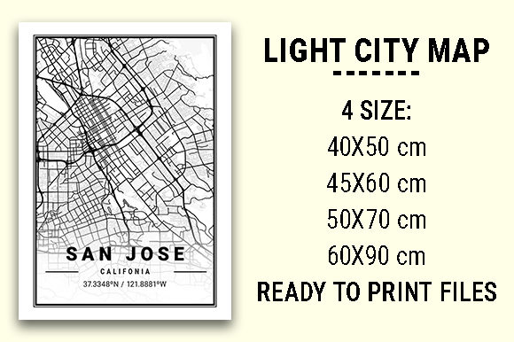 Print on Demand: San Jose Light City Map Graphic Photos By tienstencil
