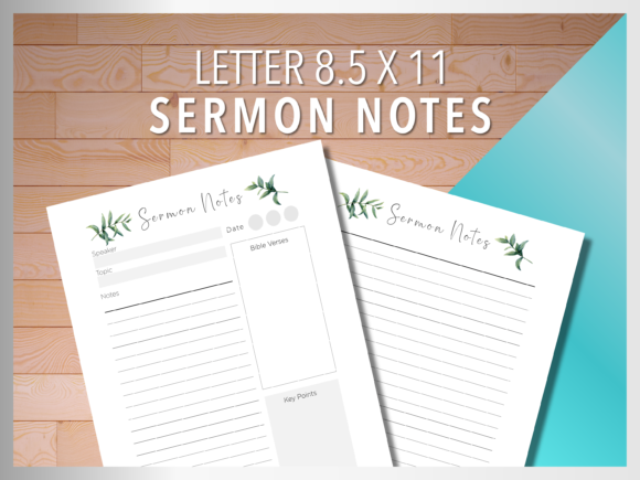 Print on Demand: Sermon Notes Tropical & Watercolor Style Graphic Print Templates By AscendPrints