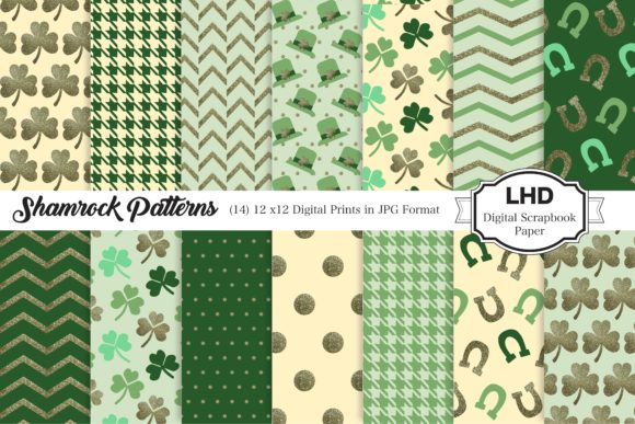 Shamrock Patterns Graphic Patterns By LeskaHamatyDesign