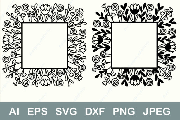 Square Flower Border Monogram Frame Graphic Crafts By AnastasiyaArtDesign
