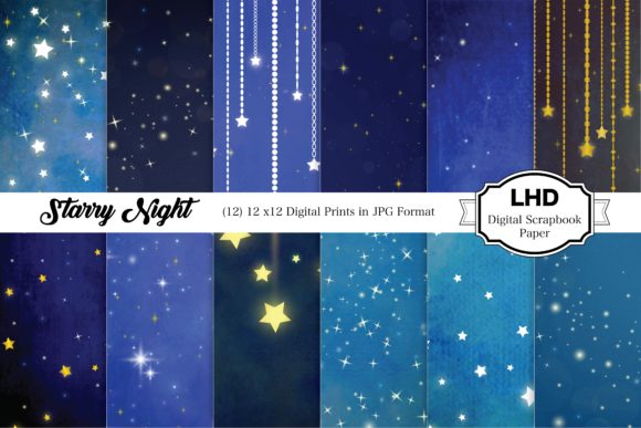 Starry Night Digital Paper Graphic Patterns By LeskaHamatyDesign