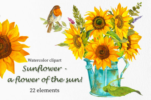 Sunflower - a Flower of the Sun! Watercor Gráfico Ilustraciones Por ElenaZlataArt