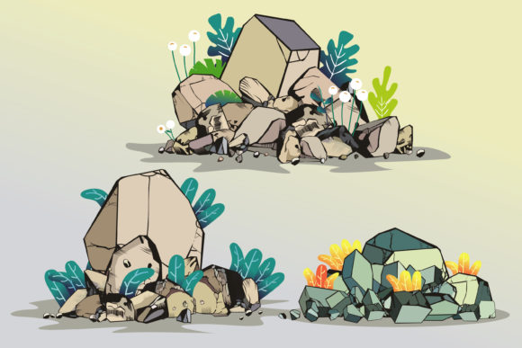 The Stones and Shrubs Isolated Graphic Illustrations By onoborgol