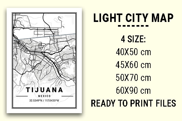 Print on Demand: Tijuana Light City Map Graphic Photos By tienstencil