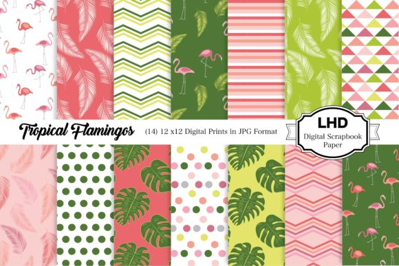 Tropical Flamingos Digital Paper Graphic Patterns By LeskaHamatyDesign