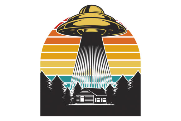 Print on Demand: UFO Aliens Retro Vintage Sunset File Graphic Logos By SunandMoon