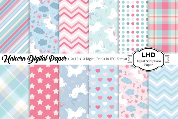 Unicorn Digital Papers Graphic Patterns By LeskaHamatyDesign