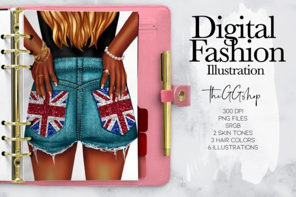 Print on Demand: Union Jack Clipart Girl Planner Inserts Graphic Illustrations By TheGGShop