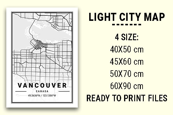 Print on Demand: Vancouver Light City Map Graphic Photos By tienstencil