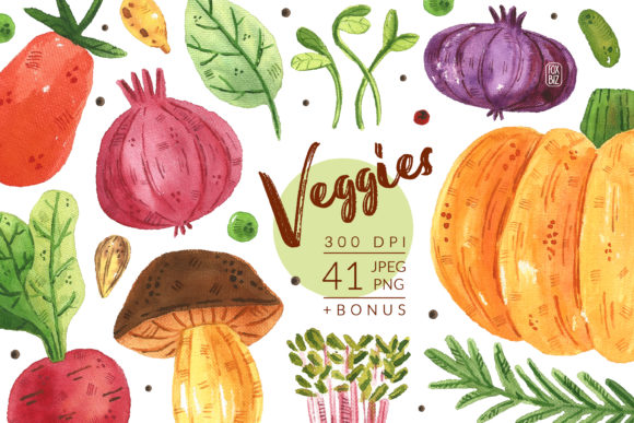 Print on Demand: Veggies Watercolor Clipart Graphic Illustrations By FoxBiz