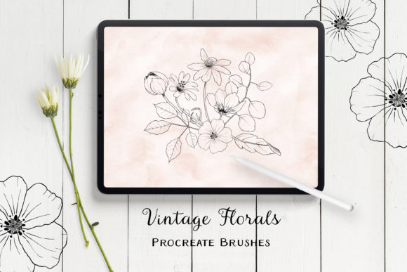 Vintage Florals Procreate Brushes Graphic Brushes By AuramarinaStudio