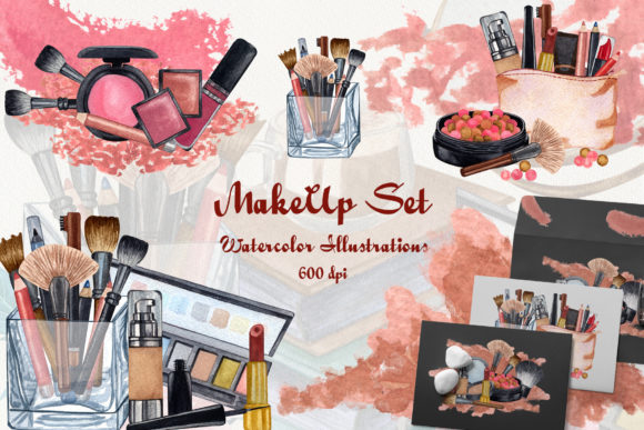 Watercolor Make Up ClipArt Grafik Illustrationen von BarvArt