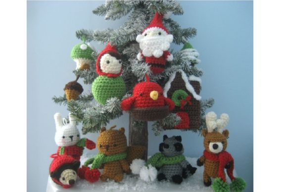 Woodland Christmas Ornament Pattern Set Graphic Crochet Patterns By Amy Gaines Amigurumi Patterns - Image 4